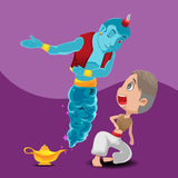 Blue Giant Genie Yellow Lamp Vector Royalty Free Stock Photo