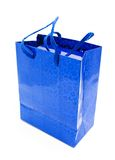 Blue gift. Wrapping with handles Stock Image