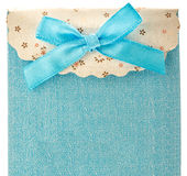 Blue gift bag with bow Royalty Free Stock Photos