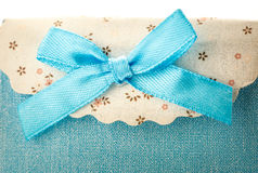 Blue gift bag with bow Stock Photo