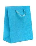 Blue gift bag isolated on white Stock Photo