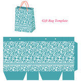 Blue gift bag template with seamless pattern Stock Images