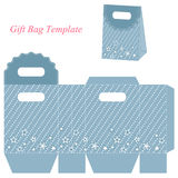 Blue gift bag template with stars Stock Photos