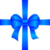 Blue gift bow. On white background Royalty Free Stock Images