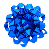 Blue gift bow. Blue bow isolated on white, clipping path included Stock Image