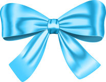 Blue gift bow. For decorating gifts and cards. Ribbon. Vector illustration Stock Photography