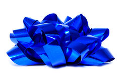 Blue gift bow Stock Images