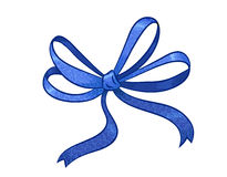 Blue gift bow Stock Image