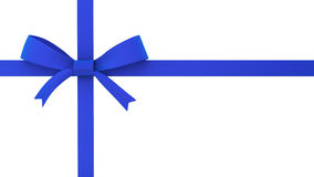 Blue gift bow. 3d illustration on white background Stock Images