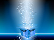Blue gift box. With stars Royalty Free Stock Photo