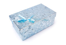 Blue gift box. Isolated on white Stock Photo