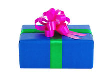 Blue gift box. With a green tape and crimson bow Stock Photography