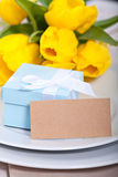 Blue gift box Stock Photos