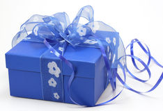 Blue gift box. On white background royalty free stock images