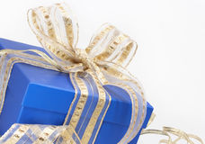 Blue gift box. On white background royalty free stock image