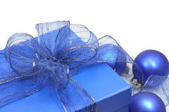 Blue gift box. With blue ribbon on white background stock photo