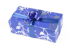 Blue gift box Stock Images