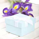 Blue gift box Royalty Free Stock Images