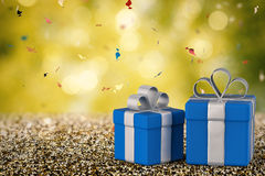 Blue gift box with blank space Stock Image