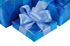 Blue Gift Box with Bow. One Blue Gift Box with Bow Isolated on White Stock Photos