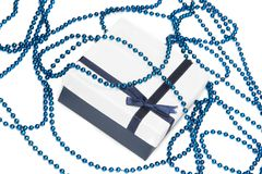 Blue gift box with bow Royalty Free Stock Photo