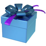 Blue gift box with bow 3d. Blue gift box with ribbon bow 3d Stock Photo