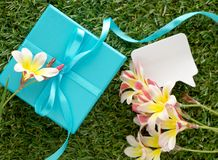 Blue gift box with a bow, blank note for text and flowers. Stock Photography