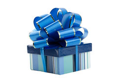 Blue gift box with bow isolated Royalty Free Stock Photo
