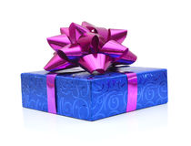 Blue gift box. With bow. Isolated on white Royalty Free Stock Photos