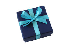 Blue gift box with bow Royalty Free Stock Photography