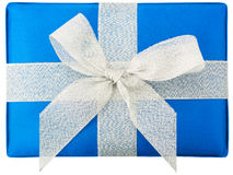 Blue gift box, bow and ribbons Royalty Free Stock Photos