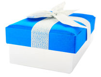 Blue gift box, bow and ribbons Stock Image