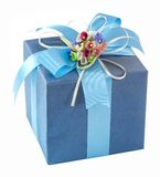 Blue gift box with bow tie Stock Photos