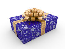 Blue gift box cosy bow Royalty Free Stock Images