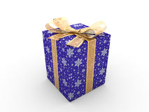 Blue gift box fancy bow Stock Images