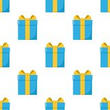 Blue Gift Box Flat Icon Seamless Pattern Royalty Free Stock Image