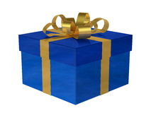 Blue gift box with golden bow Royalty Free Stock Image