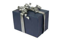 Blue Gift Box with gray Satin Ribbon Bow Royalty Free Stock Images