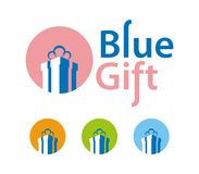 Blue gift box icons Stock Photos