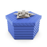 Blue gift box isolated on white background. 3d rendering. Royalty Free Stock Photos