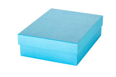 Blue gift box on isolated white. royalty free stock image