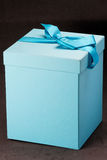 Blue Gift Box with Lace Royalty Free Stock Photos