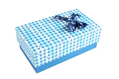 Blue gift box with a lid isolated. Blue gift box with a lid isolated on white background Stock Image