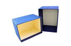 Blue gift box with lid. On white background Royalty Free Stock Photos