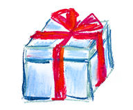 Blue gift box pastel illustration Royalty Free Stock Photo
