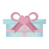 Blue gift box pink bow heart Stock Images