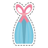 Blue gift box pink bow surprise ornament line dotted Royalty Free Stock Photography