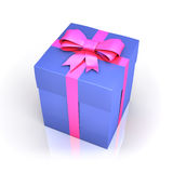 Blue gift box with pink ribbon Royalty Free Stock Photos