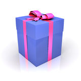 Blue gift box with pink ribbon Stock Photo