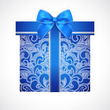 Blue gift box with red bow (ribbon). Present Royalty Free Stock Photo